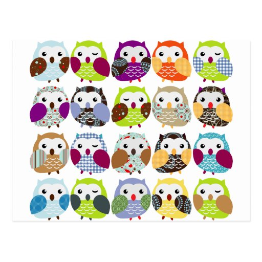 Colorful Owl Pattern Postcards