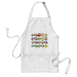 Colorful Owl Pattern Standard Apron