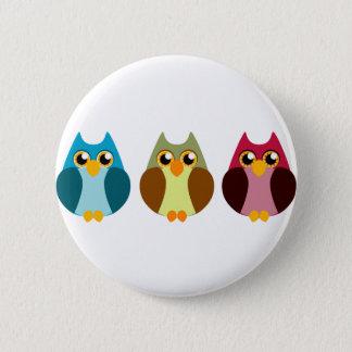 Colorful Owl Trio 6 Cm Round Badge