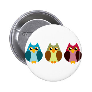 Colorful Owl Trio Pinback Button