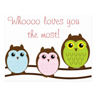 Colorful Owl Who Loves You Most Note Cards Postcard