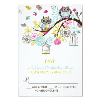 Colorful Owls and Falling Leaves RSVP Card 9 Cm X 13 Cm Invitation Card