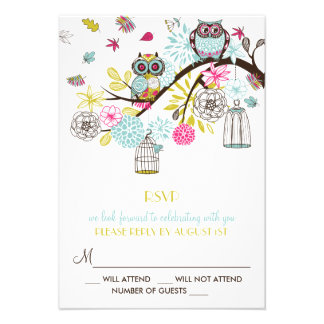 Colorful Owls and Falling Leaves RSVP Card