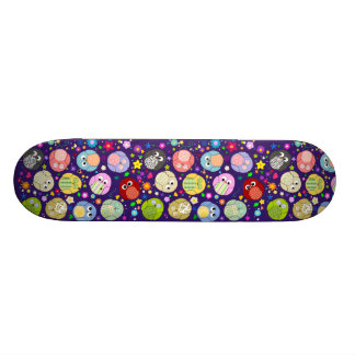 Colorful Owls and Flowers Design 18.1 Cm Old School Skateboard Deck