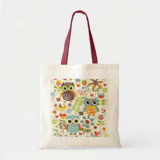 Colorful Owls and Flowers Tote Bag
