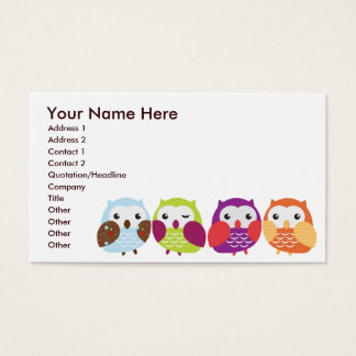 Colorful Owls Business Cards