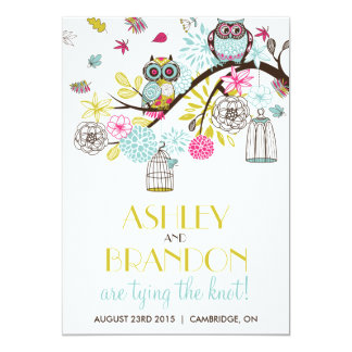 Colorful Owls & Falling Leaves Wedding Invitation