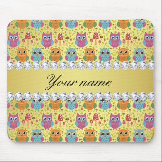 Colorful Owls Faux Gold Foil Bling Diamonds Mouse Pad