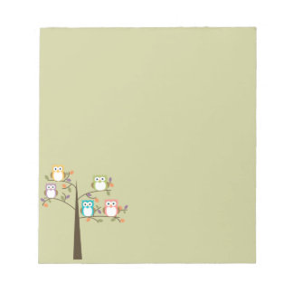 Colorful Owls in Pretty Tree Notepad