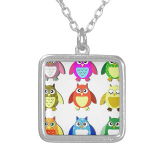 colorful owls pendant