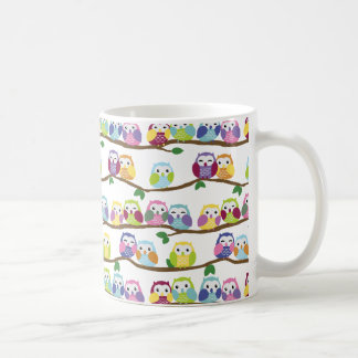 Colorful owls on a branch basic white mug