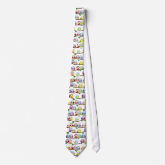 Colorful owls on a branch tie