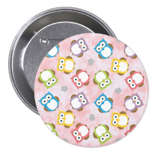 Colorful owls pattern illustration 7.5 cm round badge