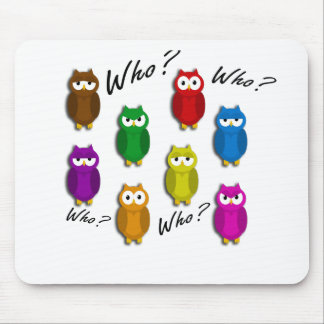 Colorful owls - Who? Who? Mouse Mat
