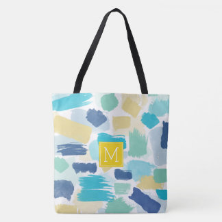 Colorful Paint Brush Strokes and Yellow Monogram Tote Bag