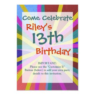 Colorful Paint Doodle Lines Converging Pin Wheel 13 Cm X 18 Cm Invitation Card