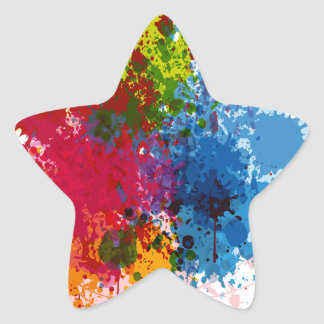 Colorful Paint Splatter Star Sticker