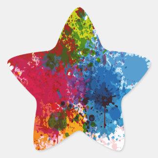 Colorful Paint Splatter Star Sticker