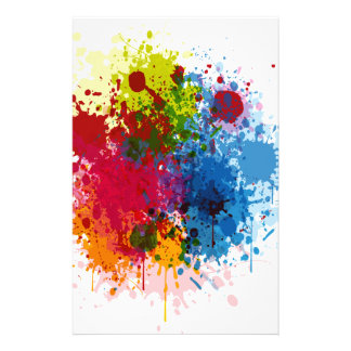 Colorful Paint Splatter Personalized Stationery