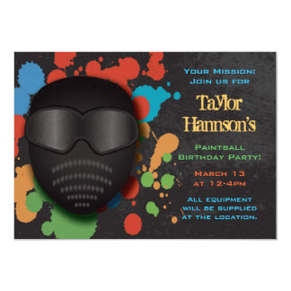 "Colorful Paintball Birthday Party Invitation 5"" X 7"" Invitation Card"