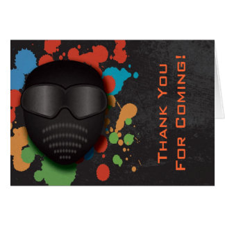 Colorful Paintball Birthday Party Thank You Card