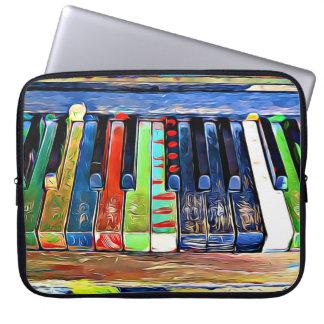 Colorful Painted Piano Keys Artsy Music Tote Bag Laptop Sleeves