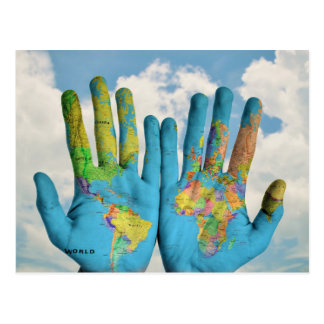 Colorful Painted World Map in Hands, Art Photo Postcard