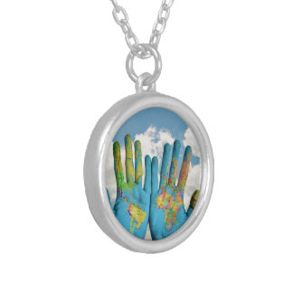 Colorful Painted World Map in Hands, Art Photo Silver Plated Necklace