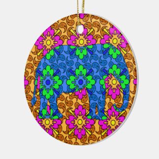 Colorful Paisley Elephant Cute Round Ceramic Decoration