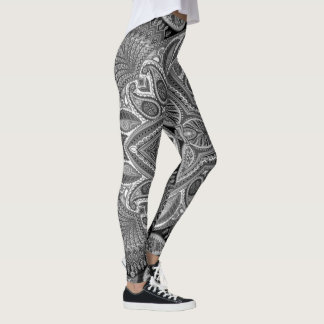 Colorful Paisley  in Black and white Leggings