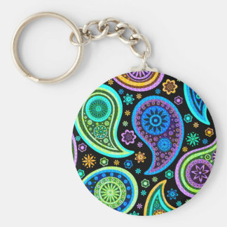Colorful Paisley Pattern Basic Round Button Key Ring