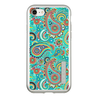 Colorful Paisley With Predominantly Turquoise Incipio DualPro Shine iPhone 8/7 Case