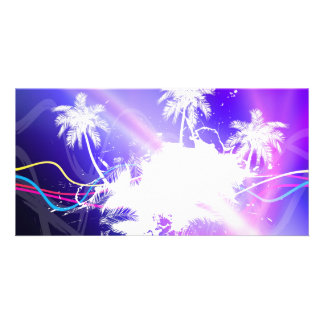 Colorful Palm Trees Grunge Layout Photo Greeting Card
