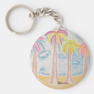 Colorful Palms-keychain Basic Round Button Key Ring