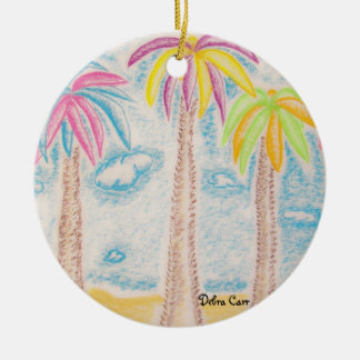 Colorful Palms-round ornament