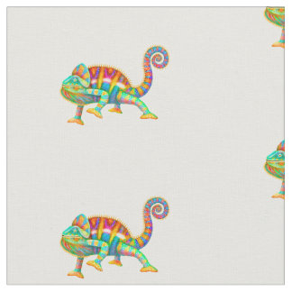 Colorful Panther Chameleon Cotton Fabric