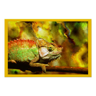 Colorful Panther Chameleon Digital Aft Poster