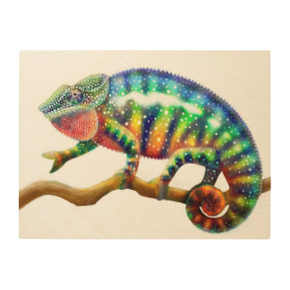 Colorful Panther Chameleon Wooden Wall Art Wood Prints