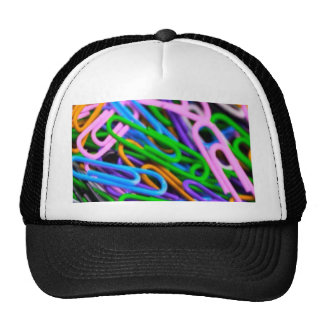 colorful paper clips mesh hats