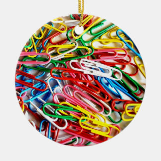 Colorful Paper Clips Office Supplies Gifts Double-Sided Ceramic Round Christmas Ornament