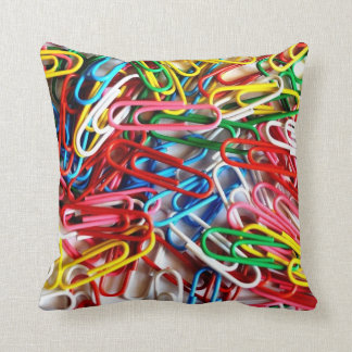 Colorful Paper Clips Office Supplies Gifts Throw Cushion