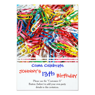 Colorful paper clips on white background. 13 cm x 18 cm invitation card