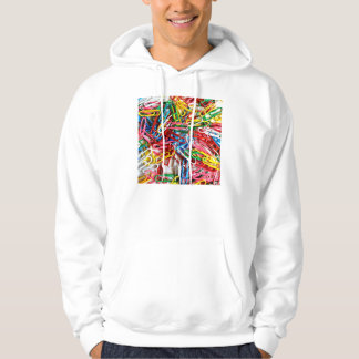 Colorful paper clips on white background. hoody