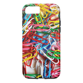 Colorful paper clips on white background. iPhone 7 case