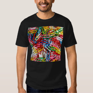 Colorful paper clips on white background. tees