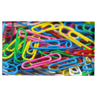 Colorful paper clips table card holder