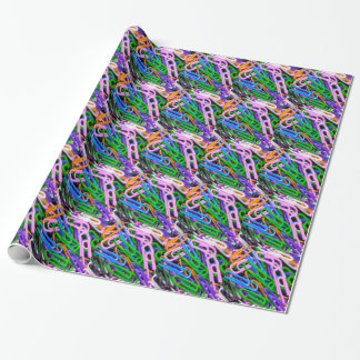 Colorful paper clips wrapping paper
