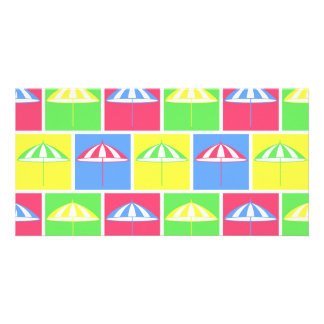 Colorful parasol pattern personalized photo card