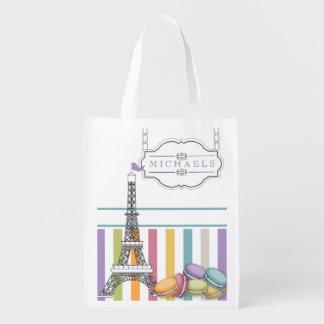 Colorful Paris Macaron Eiffel Tower Monogram Market Tote
