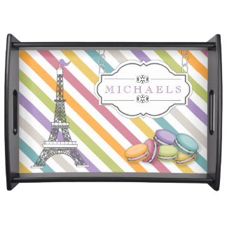 Colorful Paris Macaron Eiffel Tower Monogram Serving Tray